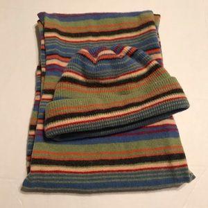 GAP Hat and Scarf Set 100% Lambswool Stripe Green